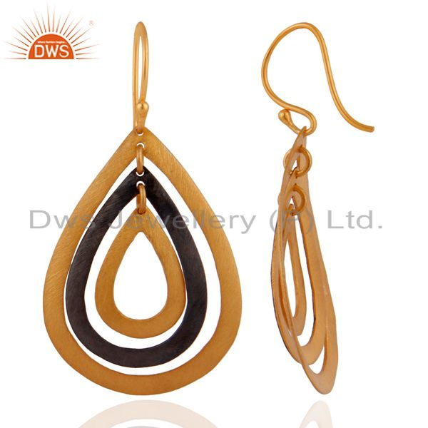 Manufacturer of 22K Yellow Gold Plated Multi Cutout Teardrop Earrings