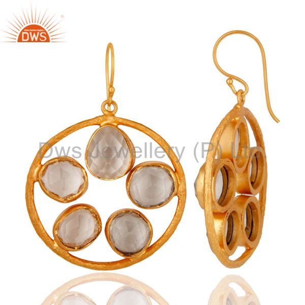 Wholesale Handmade 22K Yellow Gold Plated Fancy Crystal Quartz Brushed Earring