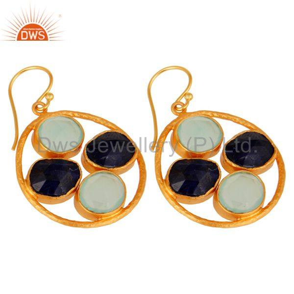 Wholesale Aqua Chalcedony Sapphire Corundum Dangle 14K Gold Plated Sterling Silver Earring