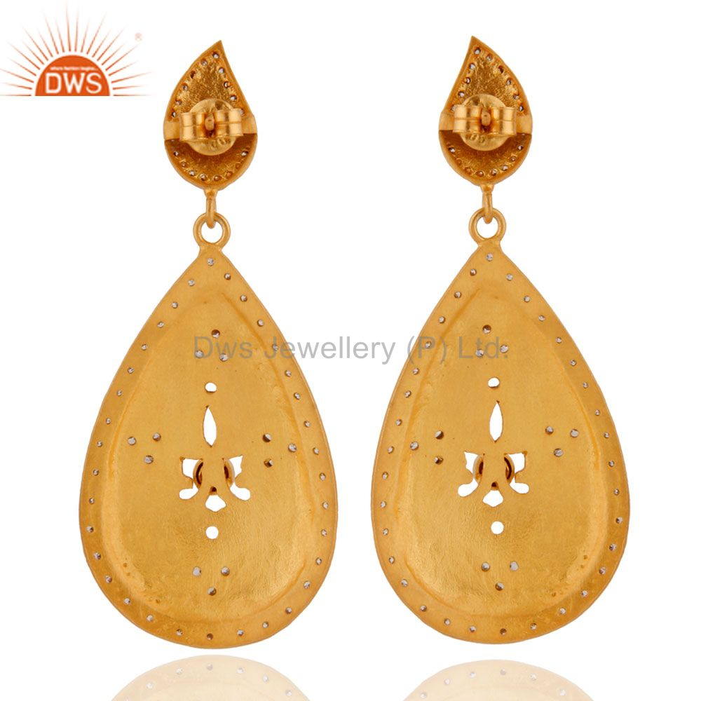 Supplier of Pink Tourmaline Studded Gold Plated Handcrafted Long Dangle 92.5 Silver Earring