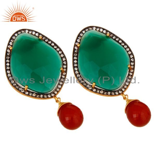 Supplier of Prong-set Green Onyx Gemstone Designer Earrings Made In 18K Gold Over 925 Silver