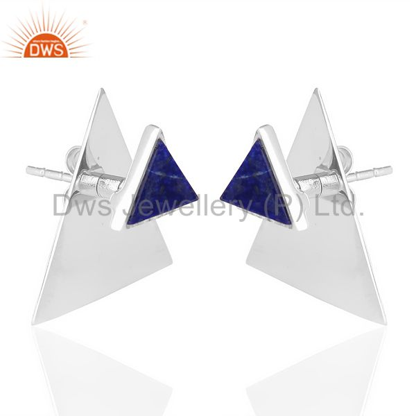 Supplier of Lapis Two Way Stud Triangle White Rhodium 92.5 Sterling Silver Earring