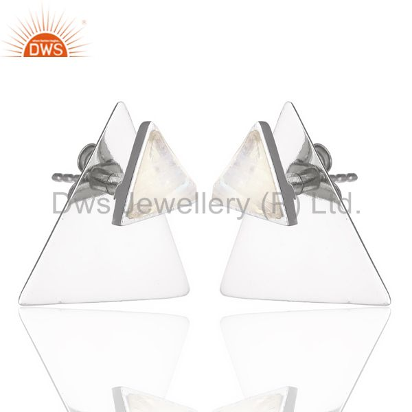 Wholesale Rainbow Moon Stone Two Way Triangle White Rhodium 92.5 Sterling Silver Earring