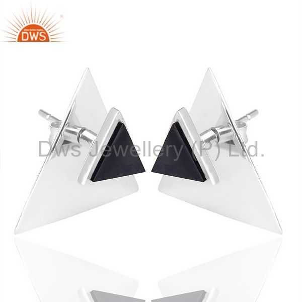 Wholesale Black Onyx Two Way Stud Triangle White Rhodium 92.5 Sterling Silver Earring