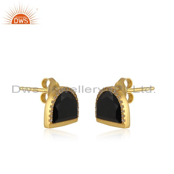 Wholesale Black Onyx Half Moon Cz Stud Gold Plated 92.5 Sterling Silver Earring