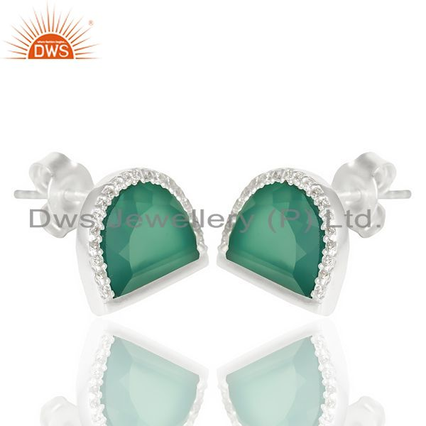 Wholesale Green Onyx Half Moon Cz Stud 92.5 Sterling Silver Trendy Earring