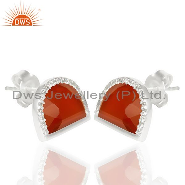 Manufacturer of Red Onyx Half Moon Cz Stud 92.5 Sterling Silver Trendy Earring