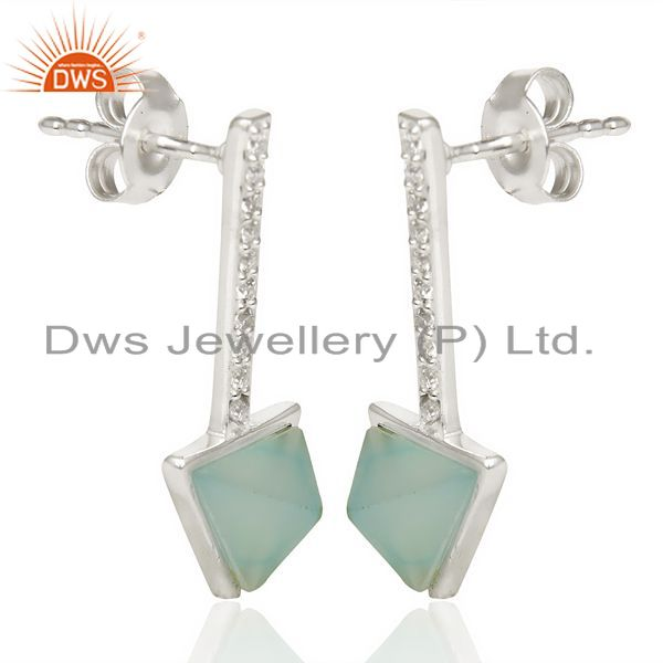 Wholesale Aqua Chalcedony Triangle Cut Post 92.5 Sterling Silver Earring,Stud Long Earring