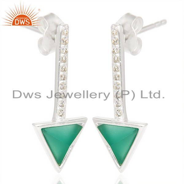 Wholesale Green Onyx Triangle Cut Post 92.5 Sterling Silver Earring,Stud Long Earring