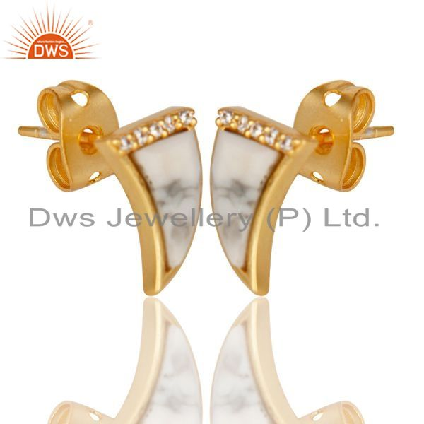 Manufacturer of Howlite Tiny Horn Cz Studded Post Gold Plated Sterling Silver Earring