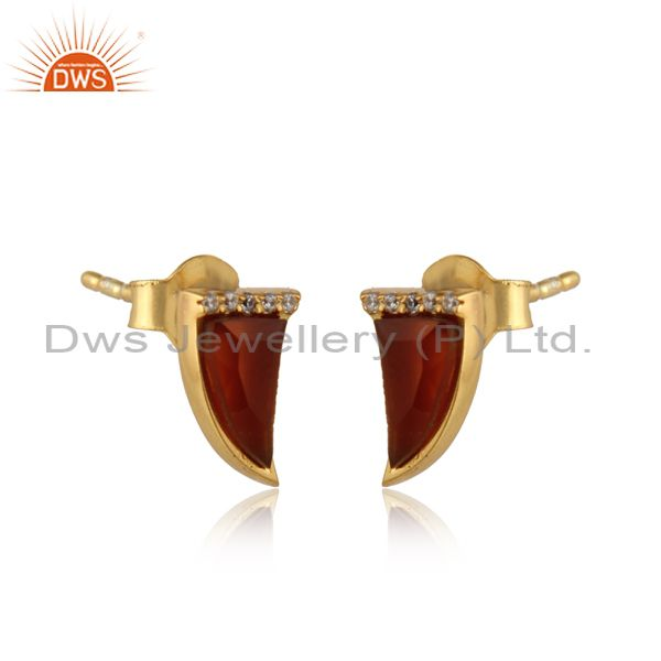 Manufacturer of Red Onyx Tiny Horn Cz Studded Post Gold Plated Sterling Silver Earring