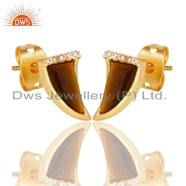 Supplier of Tigereye Tiny Horn Cz Studded Post Gold Plated Sterling Silver Earring