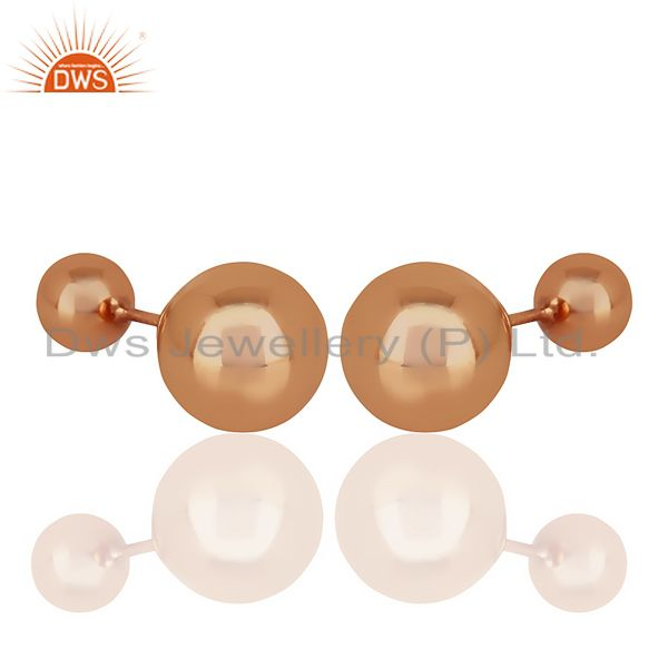 Wholesale Two Ball Stud,Two Way Stud Post Rose Gold Plated Trendy Sterling Silver Earring