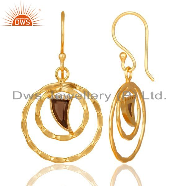 Wholesale Smoky Topaz Textured Hoops,Horn Hoops,Gold Plated 92.5 Silver Hoops Earring