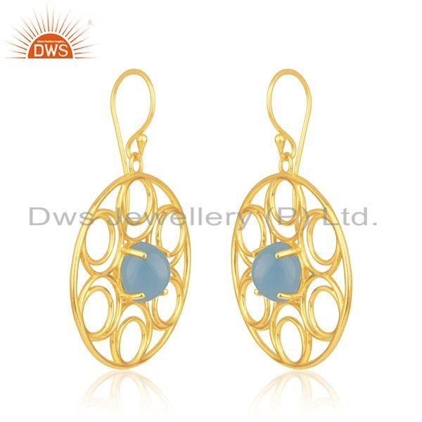 Indian Manufacturer of Beautiful Wire Design Gold Plated 925 Silver Blue Chalcedony Earrings
