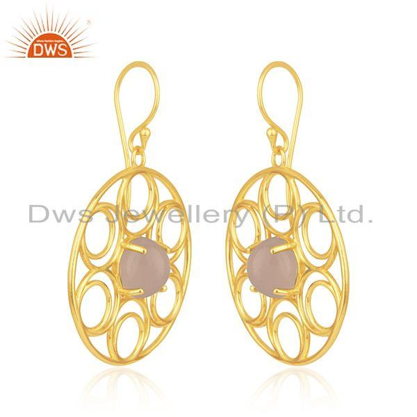Indian Wholesaler of Rose Chalcedony Gemstone 18k Gold Plated Sterling Silver Earrings