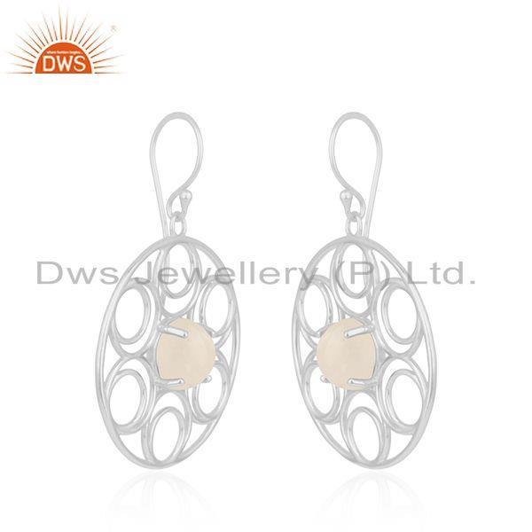 Indian Wholesaler of Natural Rainbow Moonstone Designer Fine Sterling Silver Earrings