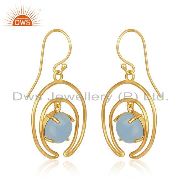 Indian Manufacturer of Crescent Moon Design Gold Plated 925 Silver Blue Chalcedony Earrings
