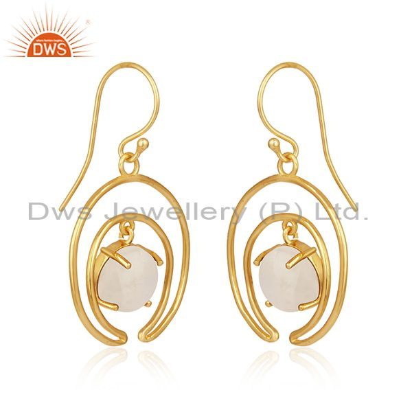 Indian Wholesaler of Natural Rainbow Moonstone Gold Plated 925 Silver Earrings Wholesale