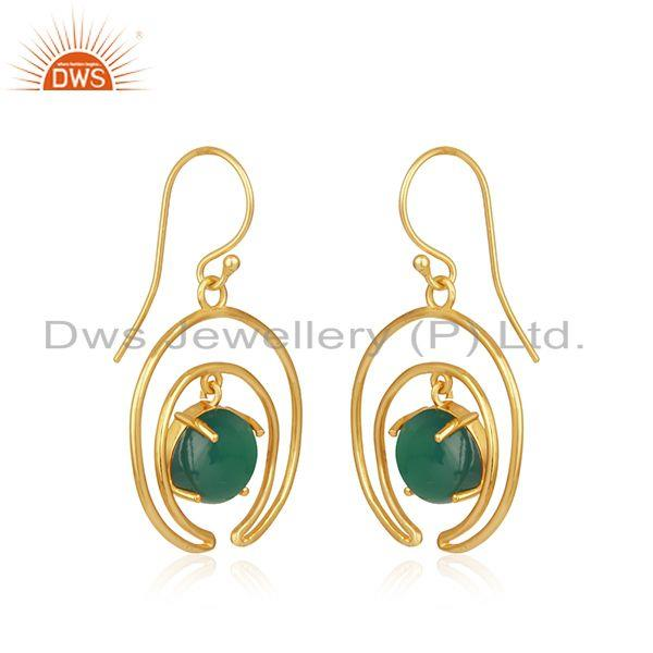 Indian Manufacturer of Green Onyx Gemstone Crescent Moon Gold Plated 925 Silver Earrings