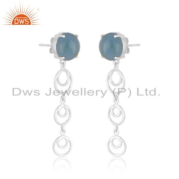 Indian Wholesaler of Blue Chalcedony Gemstone Fine Sterling Silver Designer Womens Earrings