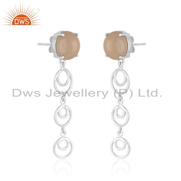 Indian Manufacturer of Rose Chalcedony Gemstone Designer Fine 925 Sterling Silver Earrings