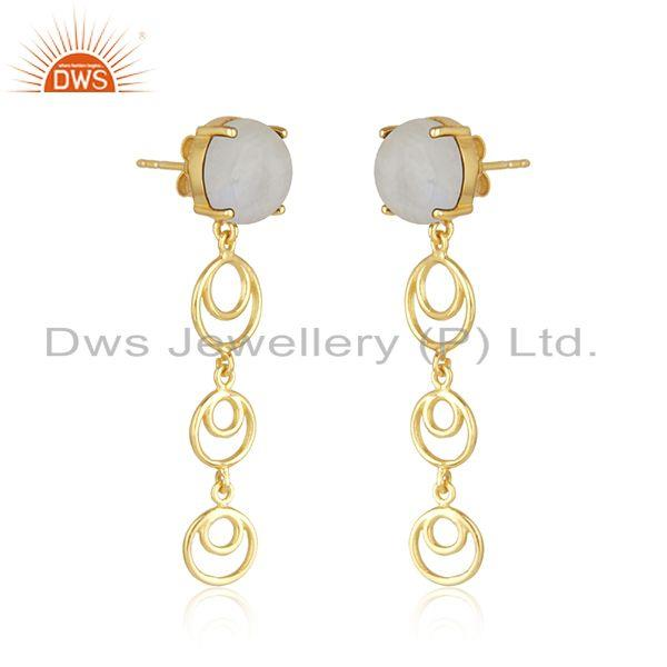 Indian Supplier of Natural Rainbow Moonstone Gold Plated Sterling Silver Earrings Jewelry