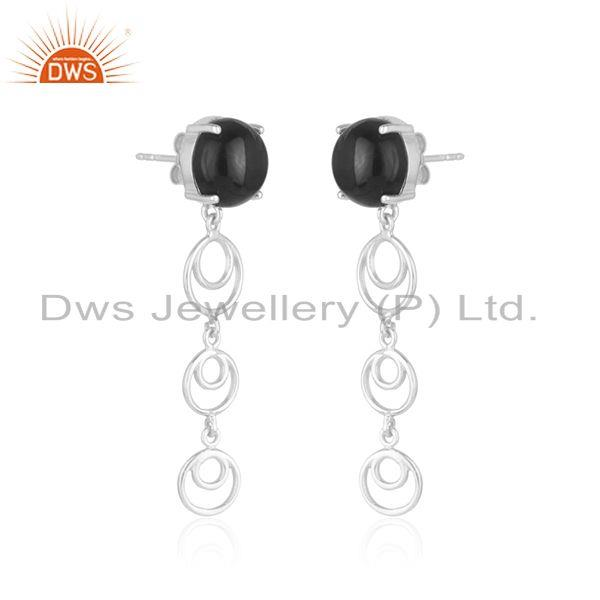 Indian Supplier of New Arrival Fine 925 Sterling Silver Black Onyx Gemstone Earrings