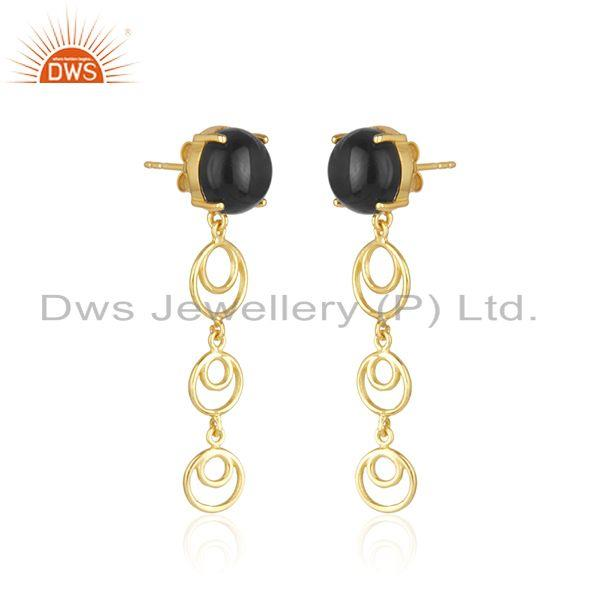 Indian Manufacturer of New Arrival Gold Plated Sterling Silver Black Onyx Gemstone Earrings