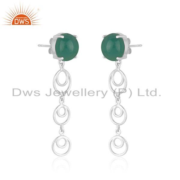 Indian Manufacturer of Best Selling Fine Sterling Silver Green Onyx Gemstone Designer Earring