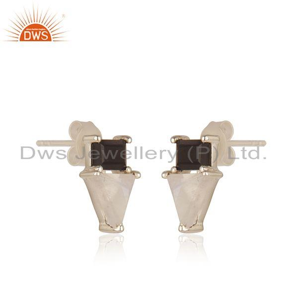 Indian Supplier of Natural Multi Gemstone Fine 925 Sterling Silver Stud Earring Wholesale