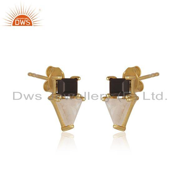 Indian Manufacturer of Natural Multi Gemstone Gold Plated 925 Sterling Silver Stud Earrings