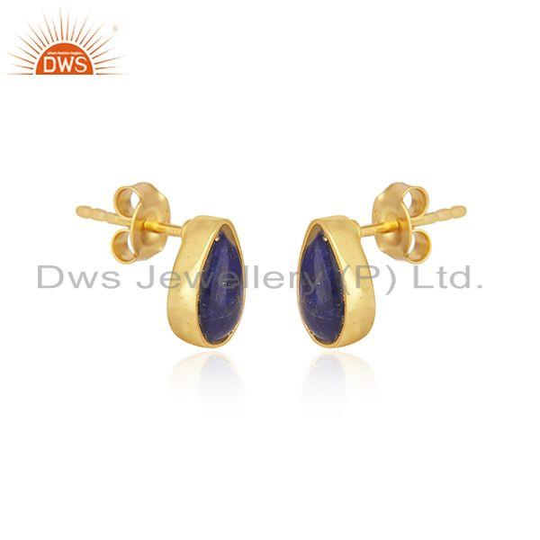 Indian Manufacturer of Natural Lapis Lazuli Gemstone Gold Plated 925 Silver Stud Earrings