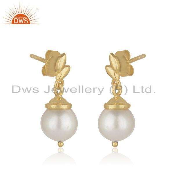 Indian Wholesaler of Leaf Design Sterling Silver Gold Plated Natural Pearl Girls Earrings