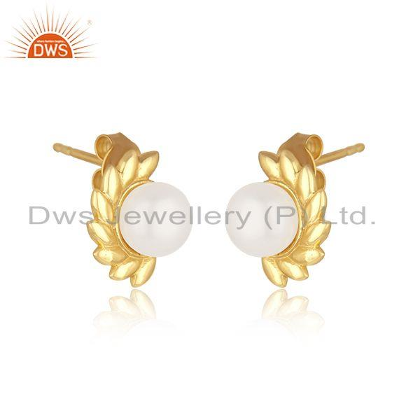 Indian Manufacturer of Beautiful Sterling Silver Gold Plated Pearl Gemstone Stud Earrings