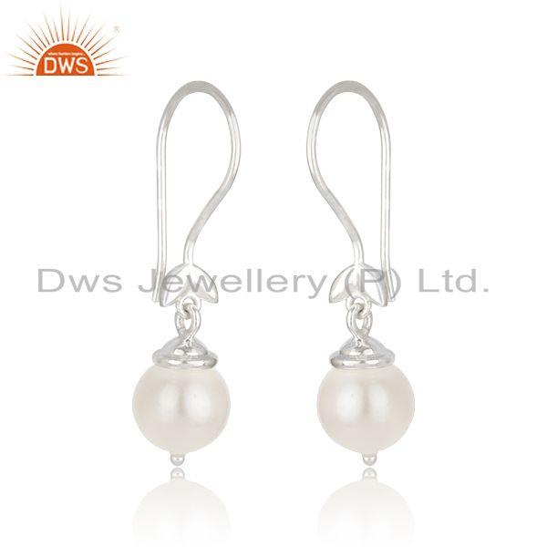 Indian Manufacturer of South Sea Pearl Gemstone Fine 925 Sterling Silver Designer Earrings
