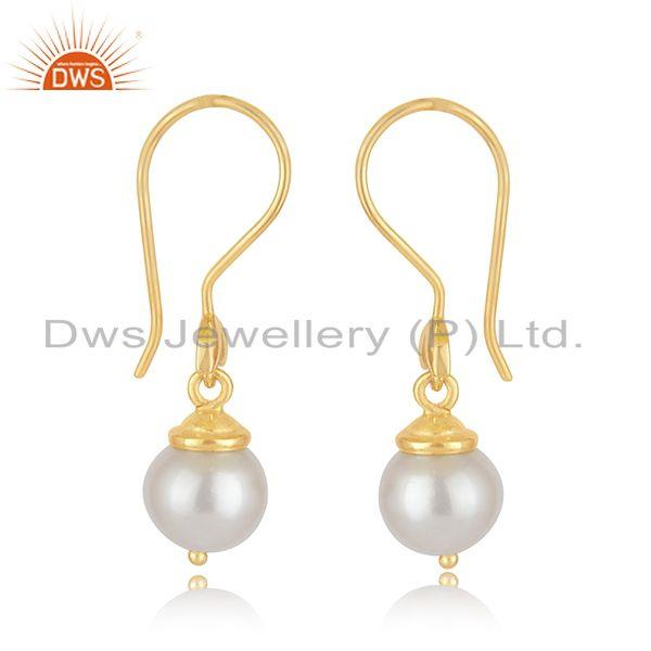 Indian Wholesaler of South Sea Pearl Gemstone Gold Plated Sterling Silver Designer Earrings
