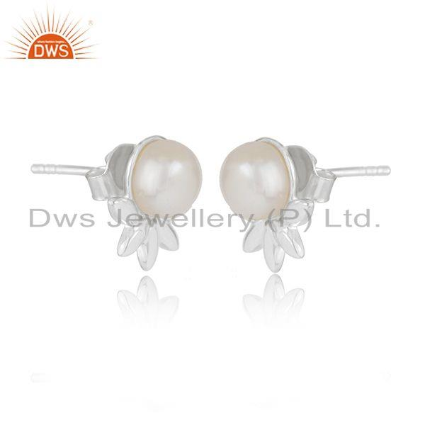 Indian Wholesaler of Designer Fine Sterling Silver South Sea Pearl Gemstone Stud Earrings