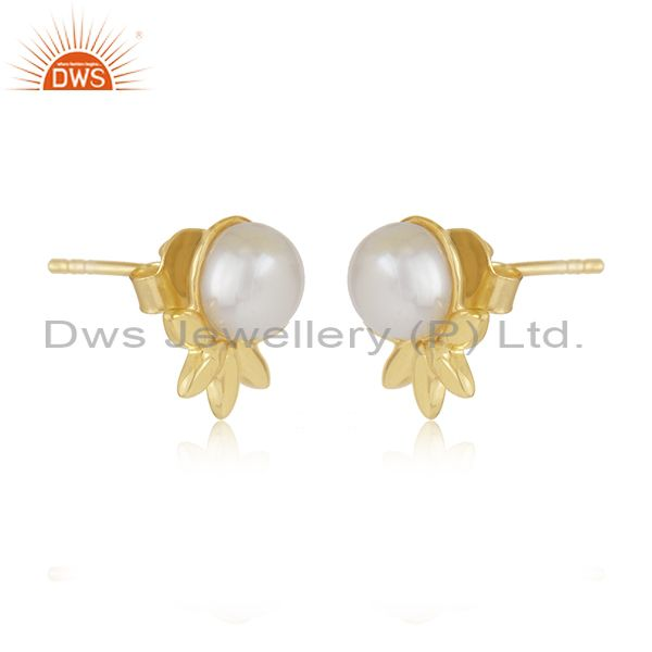 Indian Supplier of Designer 925 Silver Gold Plated South Sea Pearl Gemstone Stud Earrings