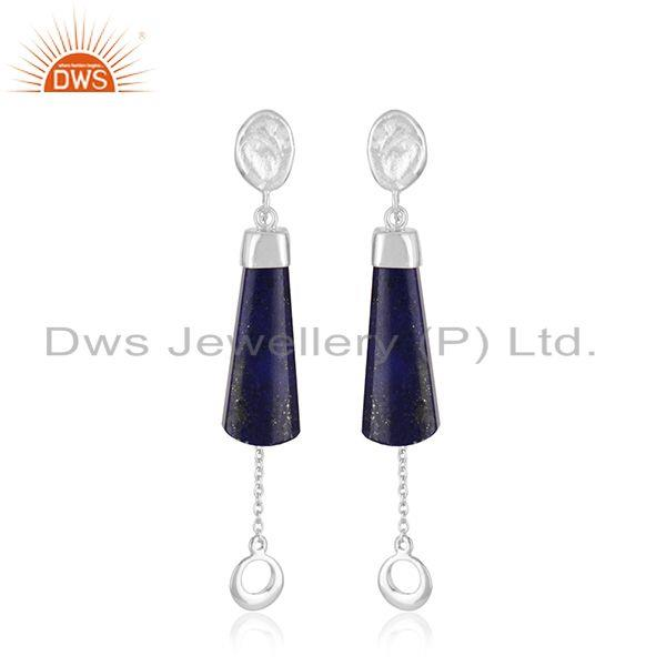Wholesale Handmade 925 Sterling Designer Silver Lapis lazuli Gemstone Earrings