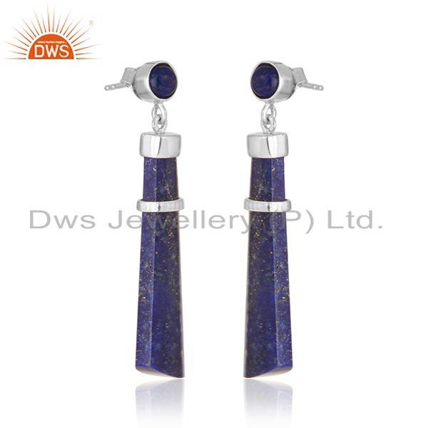 Manufacturer of White Rhodium Plated 925 Silver Lapis Lazuli Gemstone Earring Supplier