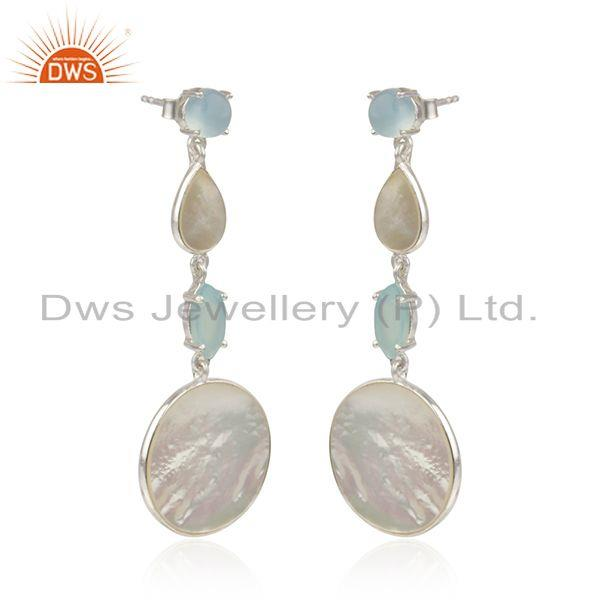 Supplier of Mother of Pearl Gemstone 925 Sterling Fine Silver Handmade Earrings