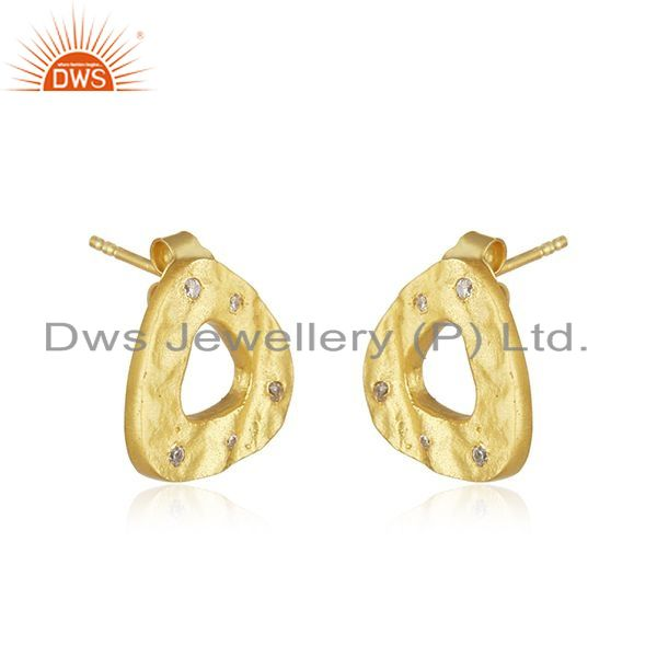 Manufacturer of Yellow Gold Plated 925 Sterling Silver White Zircon Stud Earrings