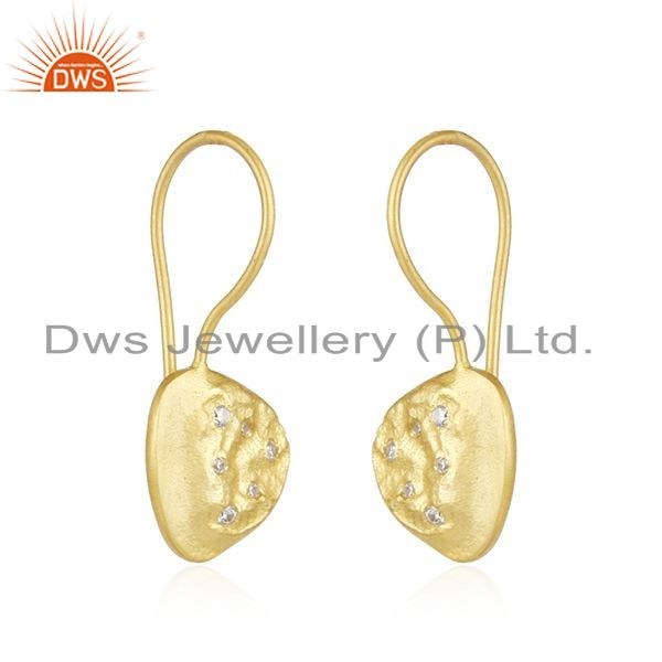 Supplier of White Zircon Handmade Yellow Gold Plated 925 Sterling Silver Earrings