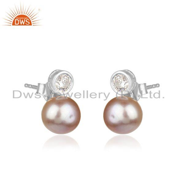 Manufacturer of Natural Gray Pearl Gemstone Fine Sterling Silver Cute Stud Earrings