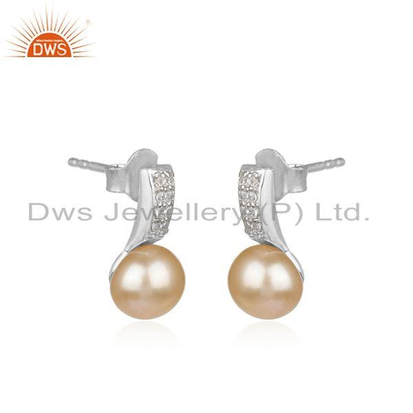 Manufacturer of White Rhodium Plated 925 Silver Natural Pearl Gemstone Stud Earrings