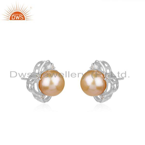 Wholesale Designer 925 Sterling Fine Silver Pink Pearl Gemstone Stud Earrings