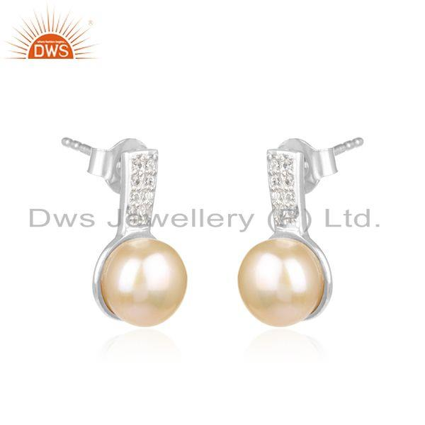 Wholesale Genuine Pink Pearl Gemstone Fine Sterling Silver Zircon Stud Earrings