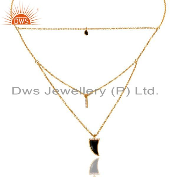 Manufacturer of Black Onyx Triple Layer Unisex Cz Gold Plated Sterling Silver Pendent