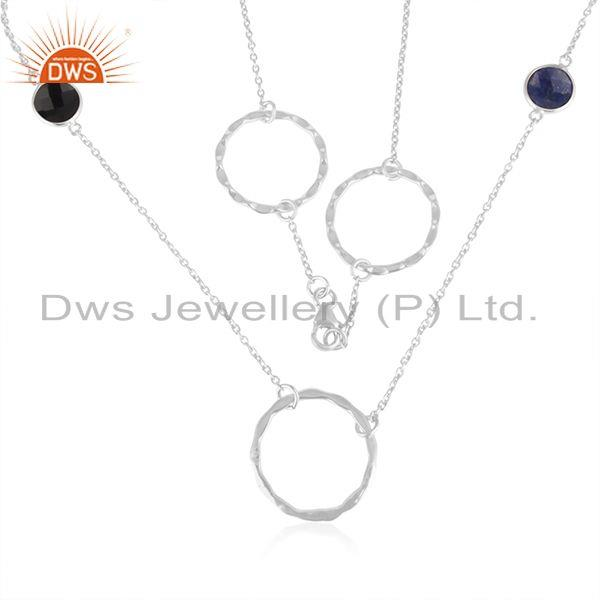 Indian Supplier of Natural Onyx Gemstone Fine Sterling Silver Designer Chain Necklace